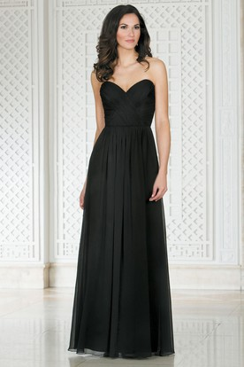 Sweetheart A-Line Floor-Length Bridesmaid Dress With Crisscross Ruches