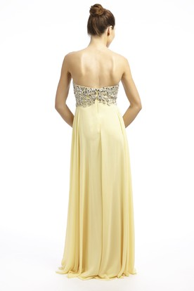 Sheath Beaded Sweetheart Floor-Length Sleeveless Empire Chiffon Prom Dress