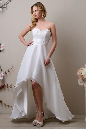 High-Low Sweetheart A-Line Wedding Dress Featuring Lace Bodice