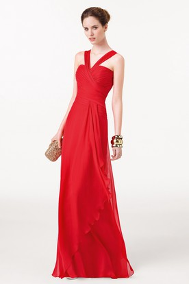Sheath Sleeveless Floor-Length Strapped Ruched Chiffon Prom Dress With Draping