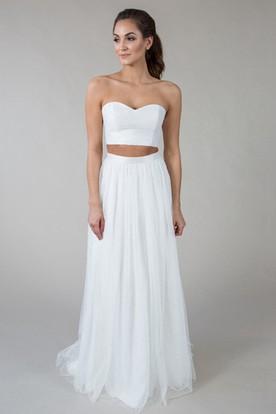 Floor-Length Sweetheart Tulle Wedding Dress With Zipper