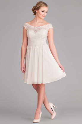 Off-The-Shoulder Midi Cap-Sleeve Lace Chiffon Wedding Dress