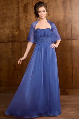 Sweetheart A-Line Long Mother Of The Bride Dress With Pleats And Appliques