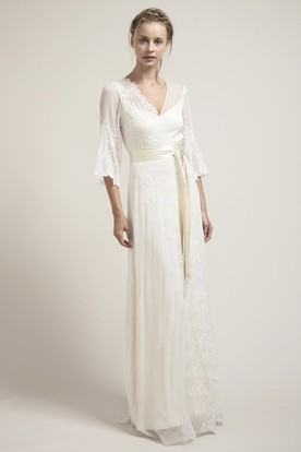 Bell Sleeve V-Neck Bowed Chiffon Wedding Dress With Lace And Illusion Back