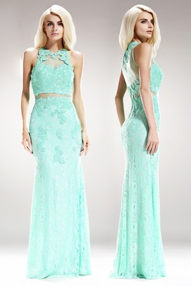 Sheath Maxi Jewel-Neck Sleeveless Lace Illusion Dress With Appliques