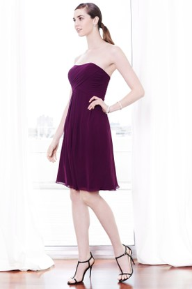 Mini Strapless Ruched Chiffon Bridesmaid Dress