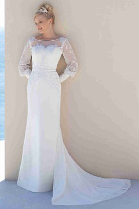 Sheath Puff-Sleeve Scoop-Neck Chiffon Wedding Dress With Court Train