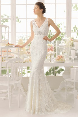V-Neck Floor-Length Appliqued Lace Wedding Dress With Brush Train And V Back