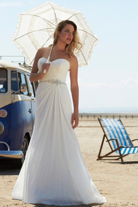 Sheath Maxi Criss-Cross Sweetheart Sleeveless Chiffon Wedding Dress
