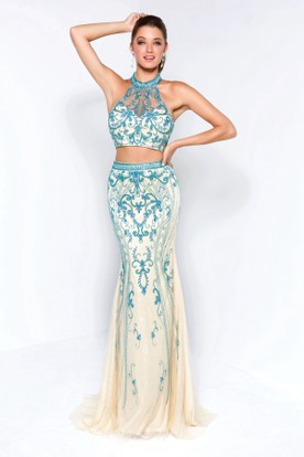 Sheath High Neck Sleeveless Lace Backless Dress With Beading And Pleats
