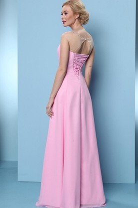 A-Line Sleeveless Beaded Scoop-Neck Long Chiffon Bridesmaid Dress With Ruching