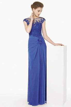 Bateau Cap Sleeve Chiffon Long Dress With Waist Flower And Appliqued Top
