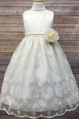 Floral Tea-Length Tiered Organza&Satin Flower Girl Dress With Embroidery