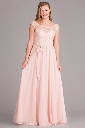 Floor-Length Lace Scoop Neck Cap Sleeve Chiffon Bridesmaid Dress