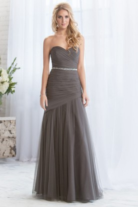 Sweetheart Long Tulle Bridesmaid Dress With Sequins And Ruches