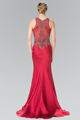 Sheath Jewel-Neck Sleeveless Satin Illusion Dress With Appliques