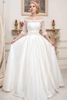 Off-The-Shoulder Floor-Length Half-Sleeve Lace Satin Wedding Dress