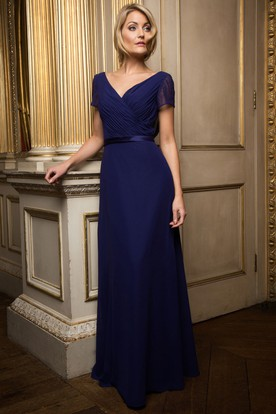 Cap Sleeve Ribboned V-Neck Chiffon Bridesmaid Dress