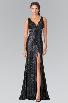 Sheath Long V-Neck Sleeveless Sequins Backless Dress With Split Front And Pleats