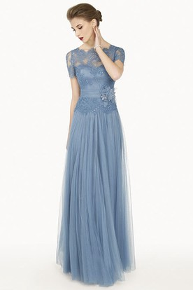 Scalloped Bateau Short Sleeve Lace Top Tulle Long Dress With Flower Sash