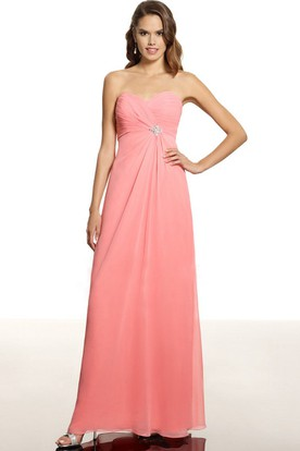 Ruched Sleeveless Sweetheart Chiffon Bridesmaid Dress