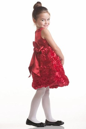 Midi Tiered Bowed Satin Flower Girl Dress