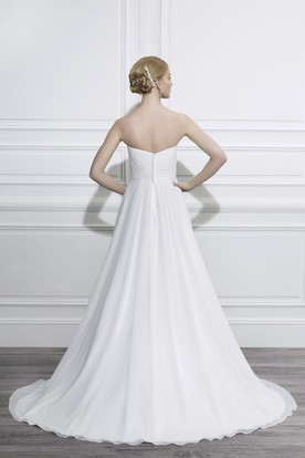A-Line Ruched Sweetheart Empire Chiffon Wedding Dress