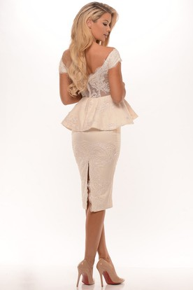 Off-The-Shoulder Midi Split Back Peplum Jersey Prom Dress