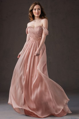 Off-The-Shoulder A-Line Chiffon Bridesmaid Dress With Appliques