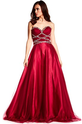 A-Line Sweetheart Long Sleeveless Ruched Satin Prom Dress With Corset Back And Beading