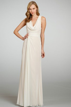 Cowl Neck Sleeveless Ruched Chiffon Bridesmaid Dress