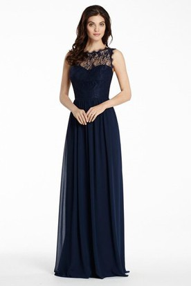 A-Line Pleated Bateau Floor-Length Sleeveless Chiffon&Lace Bridesmaid Dress With Illusion Back