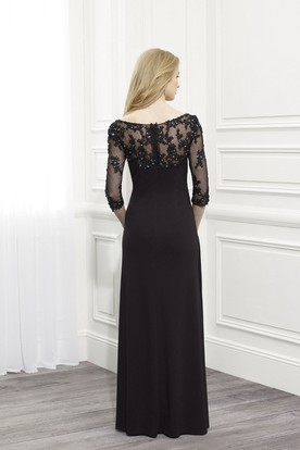 Sheath Floor-Length Appliqued Bateau-Neck Half-Sleeve Jersey Formal Dress With Beading
