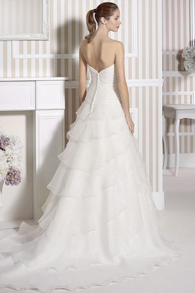 A-Line Tiered Sweetheart Organza Wedding Dress With Beading And Flower