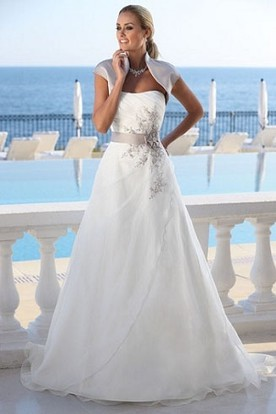 Cheap beach wedding dresses under 100 beach wedding dresses a line floor length cap sleeve organza wedding dress with side draping and junglespirit Images