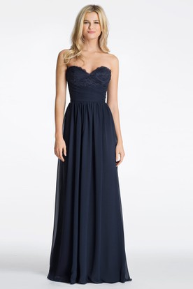 A-Line Sweetheart Pleated Long Sleeveless Chiffon Bridesmaid Dress With Backless Style