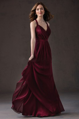 V-Neck Long Layered Gown With Pleats And Keyhole