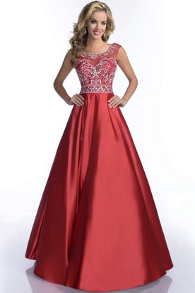 Scoop Neck Satin A-Line Prom Dress With Low-V Back