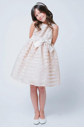 Floral Bowed Floral Organza&Satin Flower Girl Dress With Ribbon
