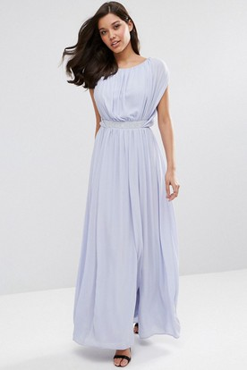 Sheath Sleeveless Jeweled Scoop-Neck Ankle-Length Chiffon Bridesmaid Dress With Split Front