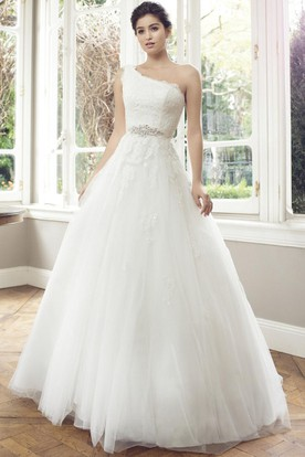Ball Gown One-Shoulder Sleeveless Jeweled Floor-Length Tulle Wedding Dress With Appliques And Corset Back