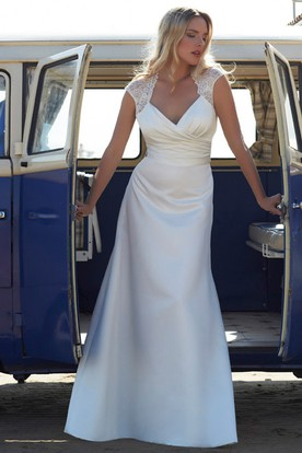 Cap-Sleeve V-Neck Satin Chiffon Wedding Dress With Ruching And Sweep Train