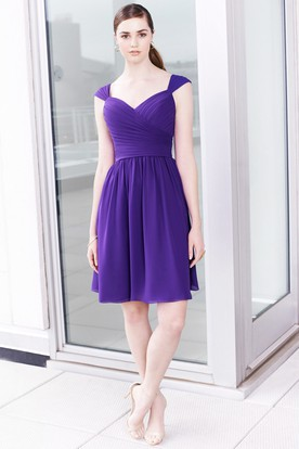 Short Cap Sleeve Sweetheart Ruched Chiffon Bridesmaid Dress With Low-V Back