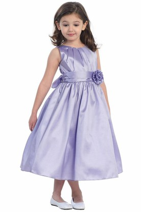 Tea-Length Pleated Taffeta Flower Girl Dress