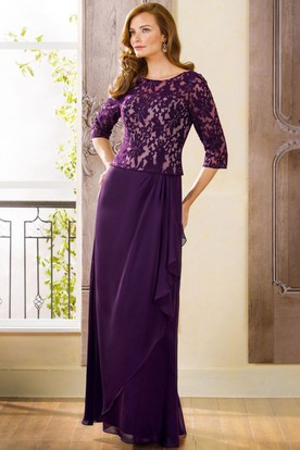 3-4 Sleeved Long Mother Of The Bride Dress With Lace And Keyhole Back