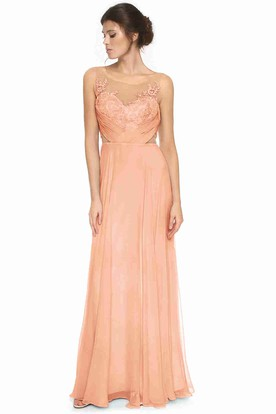 Sleeveless Scoop Neck Appliqued Tulle Bridesmaid Dress With Low-V Back