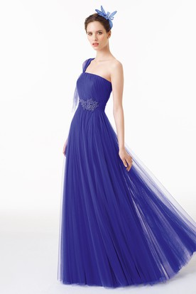Floor-Length Sheath Beaded Sleeveless One-Shoulder Tulle Prom Dress