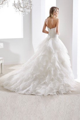 Sweetheart A-Line Ruching Wedding Dress With Cascading Ruffles And Lace Bodice