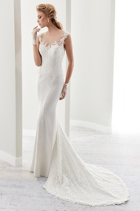 Cap Sleeve Sheath Bridal Gown With Illusion Details And Low-V Back
