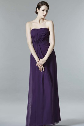Floor-Length Strapless Ruched Chiffon Bridesmaid Dress With Low-V Back